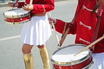 Two drummer girls on the city parade.