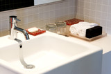 Image of a nice and clean wash basin. poster