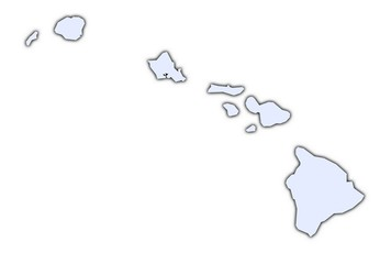 Hawai light blue map with shadow