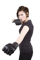 Brunette Woman Kick Boxer Serious Stance