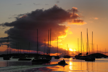 Sunset view of boats on the water in St. John, US Virgin Islands