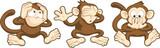 Hear no evil, see no evil, speak no evil monkeys illustration poster