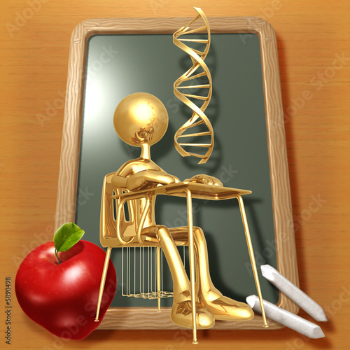 Little Golden Student With DNA Above School Desk