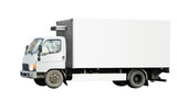 blank white delivery van truck deliver goods  poster
