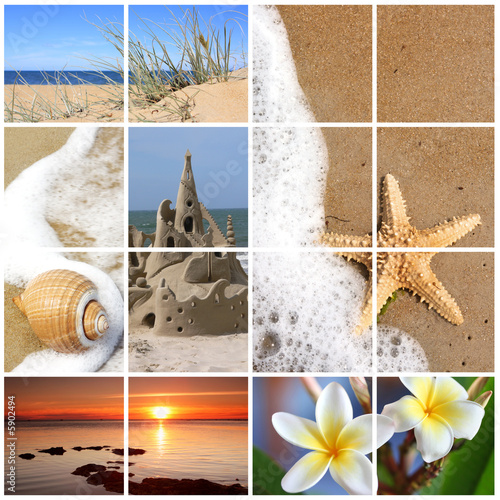 Collage of summer beach images.   XL file.