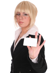 business woman with a card over white background