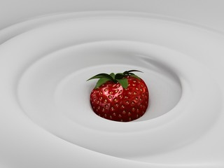 sahne mit erdbeere