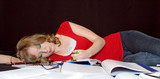 Overwhelmed student fell asleep studying. poster