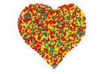 Color heart shape created with bead,  isolated on white. poster