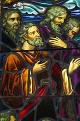 Staned glass window depicting apostles.  circa 1870-1900.