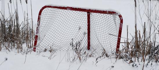 Deserted hockey net