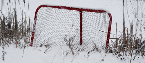 Deserted hockey net