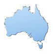 Australia map filled with light blue gradient
