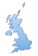 United Kingdom map filled with light blue gradient