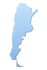 Argentina map filled with light blue gradient