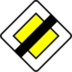 Panneau - fin de route prioritaire