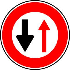 Panneau : cedez le passage en sens inverse