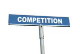 Blue metal roadsign spelling Competition isolated on white poster