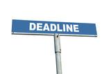 Blue metal roadsign spelling Deadline isolated on white poster
