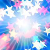 Holiday background with rays of light and star-shaped highlights poster
