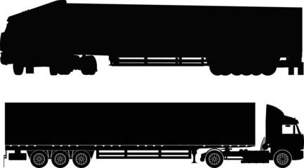 Vector semi-truck silhouettes