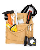 tool bag close up with full of construction equipments