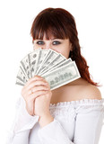 Young brown-haired woman thinking how to spend her money. poster