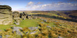 Panoramic at Combestone Tor Dartmoor South Devon
