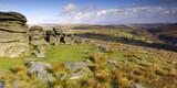 Panoramic at Combestone Tor Dartmoor South Devon