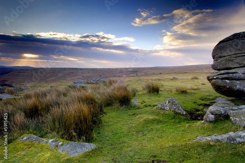Beautiful sunrise at Combestone Tor Dartmoor South Devon