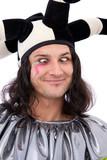 jester joker making a face on white background poster