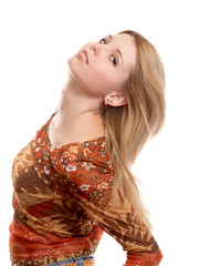 Blonde russian long-haired girl on white background.