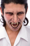 male vampire close up on white background poster