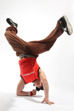 hip-hop style dancer posing on isolated background poster