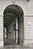 Arched passage next to the City Hall (Rathaus) in Vienna poster