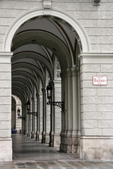 Arched passage next to the City Hall (Rathaus) in Vienna
