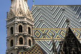 Tiled roof colorful patterns. Famous landmark in Vienna poster