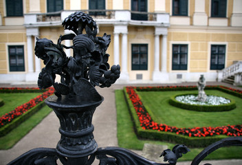 Railing decoration in Schonbrunn gardens in Vienna
