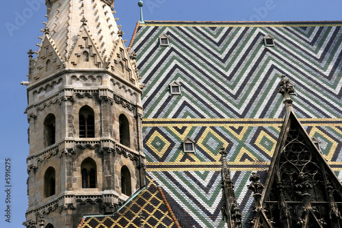 Tiled roof colorful patterns. Famous landmark in Vienna