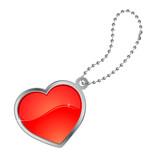 Coeur avec contour métal et chaînette poster