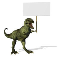 A T-Rex dinosaur holding a blank sign - 3D render