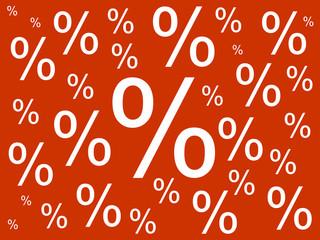 Prozente auf rotem Hintergrund
