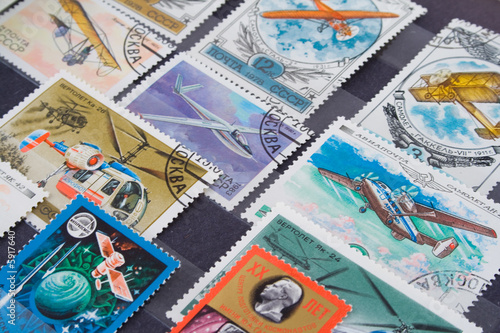 Collection of postage stamps from a variety of countries
