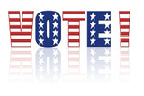 Star and stripe Vote word - american election concept poster