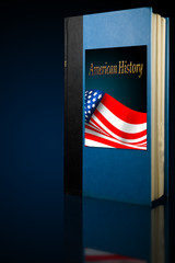 American history book on display with back light