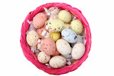 Speckled multicolored chocolate EASTER eggs in a basket poster