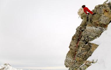 old style rock climber; winter season