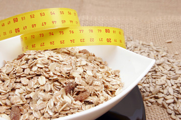 Cereals with measuring tape