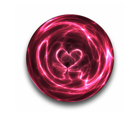 a love heart is seen the sparks and arcs of this crystal ball