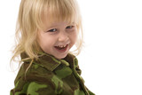 cute little girl in military style pajamas poster
